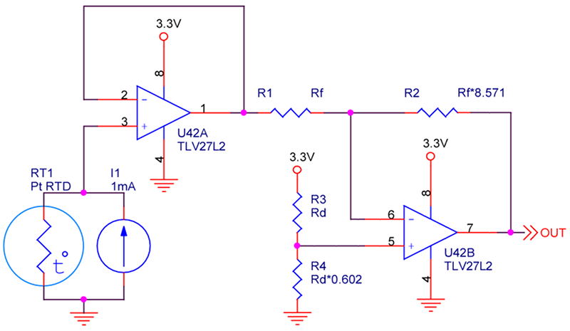 Transforming resistance of an RTD to a voltage suitable for an ADC