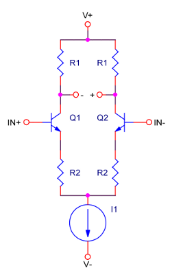 op-amp input stage equivalent circuit; old-school; bipolar junction transistors